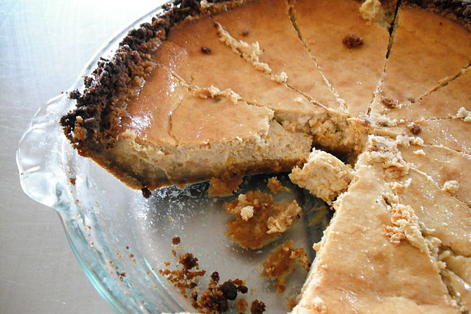 Spiced Pumpkin Cheesecake With A Gingersnap Crust Recipe — Dishmaps