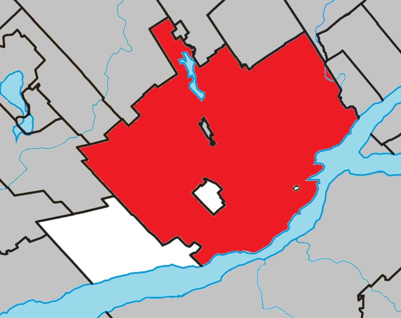 Localisation de Québec au sein de son agglomération