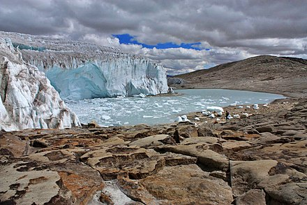 The Quelccaya Ice Cap is the second largest glaciated area in the tropics, in Peru Quelccaya Glacier.jpg