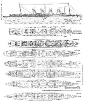 RMS Lusitania - Deck plans of Lusitania. Modifications were made both during, and after the ship's construction. By 1915 the lifeboat arrangement had been changed to 11 fixed boats either side, plus collapsible boats stored under each lifeboat and on the poop deck.