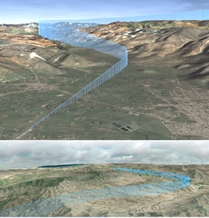 Required navigation performance - RNP-AR 3D approach tracks to Cajamarca, Perú (above) and La Serena, Chile (below), demonstrating the benefits of precise lateral and vertical navigation on airports located on mountainous regions