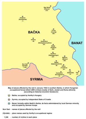 Novi Sad raid - Map of places affected by the raid