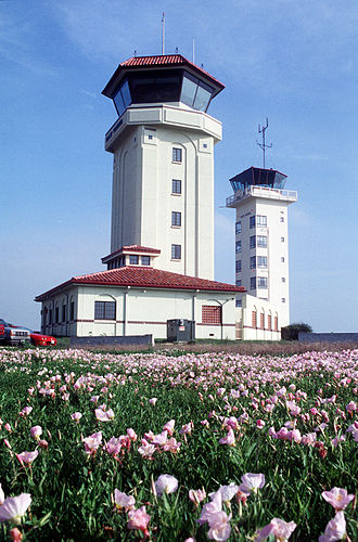 Randolph Air Force Base - New and old air traffic control towers, 1997.