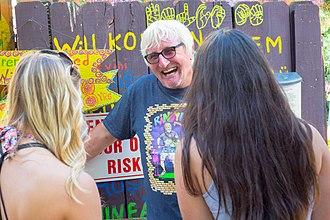 Randyland - Randy Gilson talking to visitors at Randyland