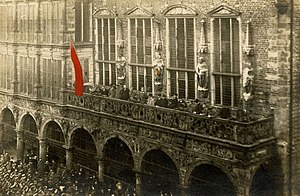Bremen Soviet Republic - Establishment of the Workers' council from Bremen Town Hall on the 15 November.