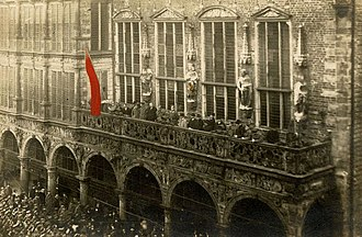 German Revolution of 1918–19 - Proclamation of the Bremen revolutionary republic, outside the town hall, on 15 November 1918.
