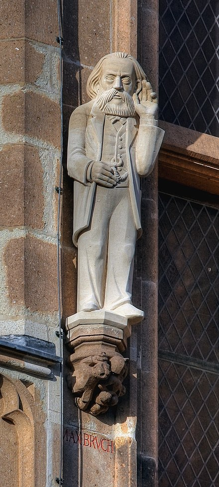 Sculpture on the restored tower of the Cologne City Hall Rathausturm Koln - Max Bruch.jpg