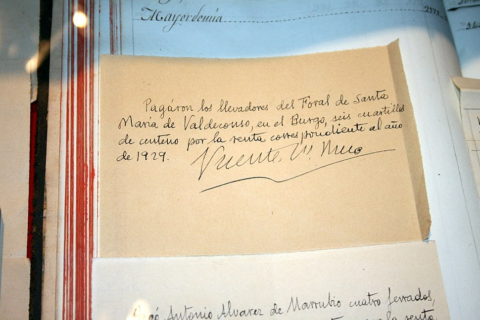 Receipt signed by Vicente Risco, in his museum in Allariz, Ourense, Galicia