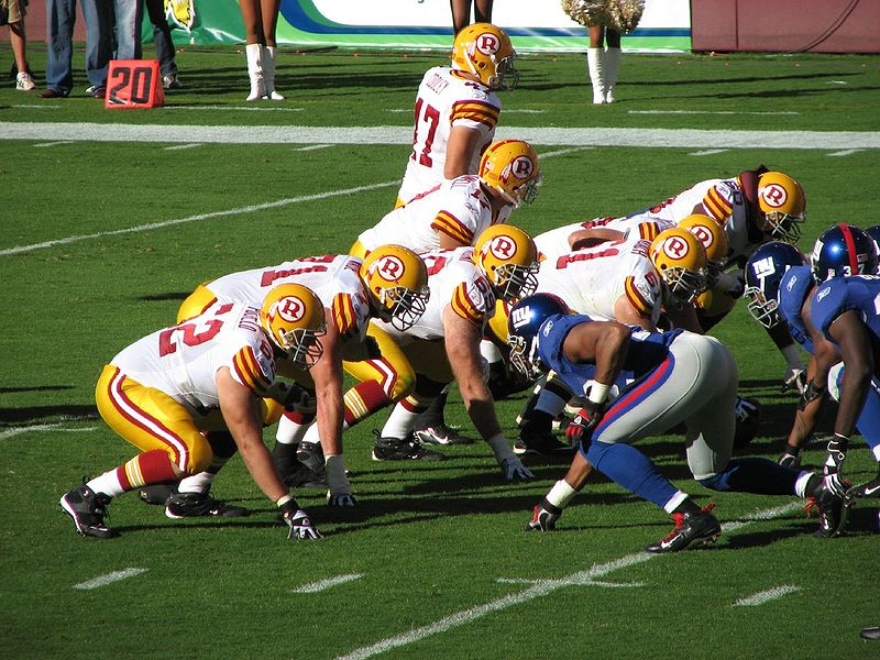 File:Redskins vs Giants line of scrimmage throwbacks.jpg