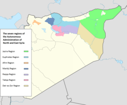 The regions of the Autonomous Administration of North and East Syria, the Jazira Region in green.