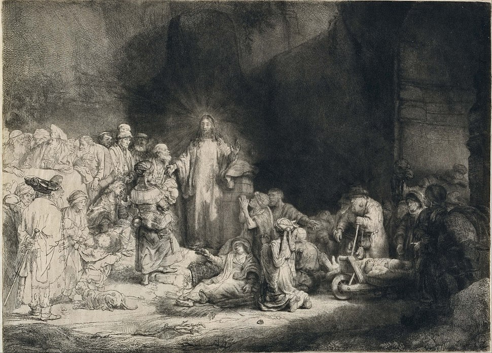 Rembrandt Harmensz. van Rijn - Christ with the Sick around Him, Receiving Little Children (The 'Hundred Guilder Print') - Google Art Project