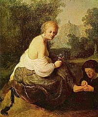 Bathsheba at her toilet, seen by King David