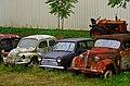 Renault 4CV, 1980 Mini Mk IV, 1953-1954 Renault Juvaquatre, Saint-Cirq-Madelon, Lot, France (8482339804).jpg