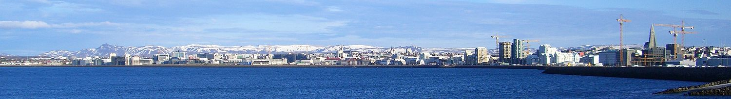Panorama of the northern seashore of Reykjavík, as seen from Örfirisey.