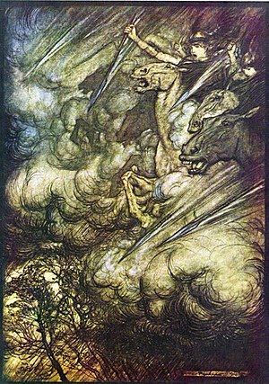 Ride of the Valkyries - Arthur Rackham's illustration to The Ride of the Valkyries.