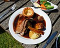 Roast beef Sunday roast at The Stag, Little Easton, Essex, England.jpg