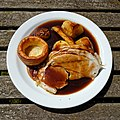 Roast pork Sunday roast at The Stag, Little Easton, Essex, England.jpg