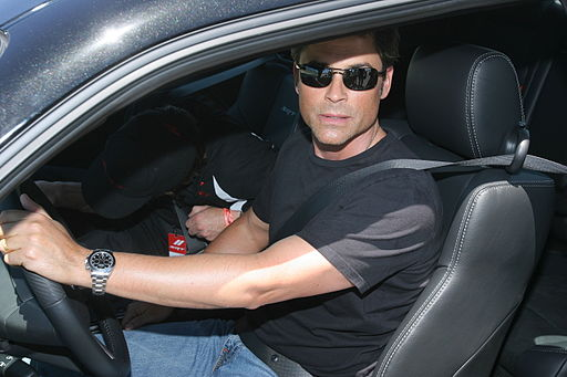 Rob Lowe in car