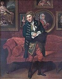 Robert Baddeley as Moses in Sheridan's 'The School for Scandal' c1781, by Johann Zoffany.jpg