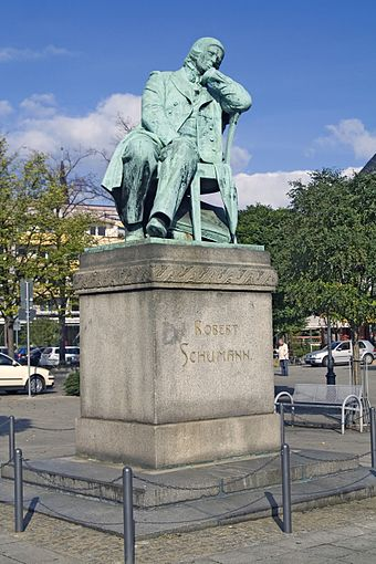 Robert Schumann monument at his birthplace Zwickau, Germany Robertschumann.jpg