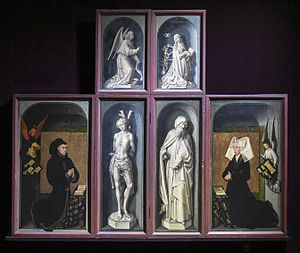 Beaune Altarpiece - The view with the wings folded of six panels with the donors kneeling in the far wings
