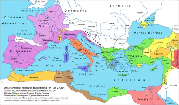 Римська імперія близько 39 року до н. е. Зображення використане у статті «30-ті до н. е.». Автор картосхеми — Borsanova, вільна ліцензія cc by-sa 3.0