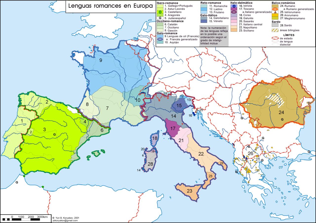 Mapa de las lenguas romances en Europa