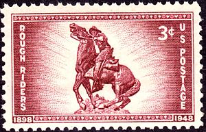 Buckey O'Neill - US Postage Stamp, 1948 issue, commemorating 50th anniversary of Theodore Roosevelt's Rough Riders, depicting O'Niell.