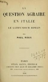 Roux - La Question agraire en Italie, 1910.djvu