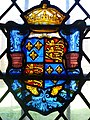Royal Arms of England in glass at King's College, Cambridge.jpg