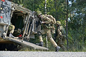 Royal Danish Army - Royal Danish soldiers conduct an infantry training exercise Army Joint Multinational Training Command, 2014.