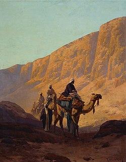Rudolf Hellgrewe - Eine Karavane durchquert ein Wadi