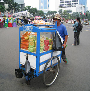Rojak - Travelling fruit rujak vendor in Jakarta.