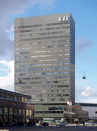 Scandinavian Airlines - Radisson Blu Royal Hotel in central Copenhagen, originally SAS Royal Hotel, designed by Arne Jacobsen, built in 1960.