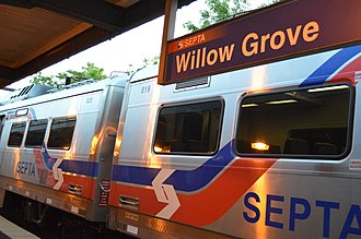 Willow Grove station - Image: SEPTA train at Willow Grove station, Willow Grove, Pennsylvania