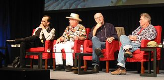 "Country Joe McDonald - ""Legendary Artists: Sounds of San Francisco"" at an Audio Engineering Society convention in 2012. Left to right: Mario Cipollina, Peter Albin, Joel Selvin, McDonald"