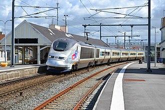 British Rail Class 373 - 373203/204 working for SNCF passing Étaples - Le Touquet
