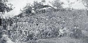 Autonomous Albanian Republic of Korçë - Troops of the Autonomous Republic of Northern Epirus (Sacred Bands) in Korçë (1914).
