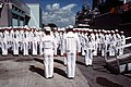 Sailors of USS Pharris (FF-1094) standing at attention during change of command ceremony 1989 Port Everglades DN-ST-90-05527.jpg