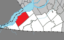 Location within Le Haut-Saint-Laurent RCM