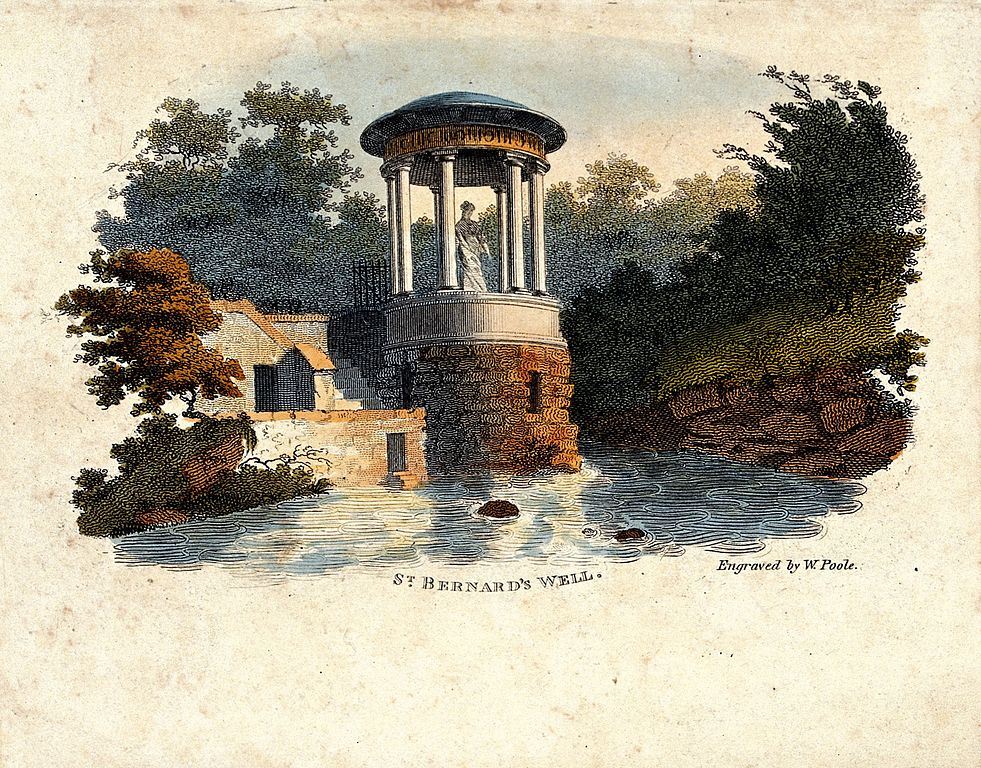Saint Bernard's well dans le Jardin de Leith du quartier de Stockbridge - Aquarelle de W. Poole.