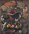 Saint George strikes down the dragon, by Lower Saxony School of the 16th century.jpg