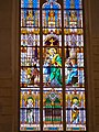 Saint and children on stained glass, Saint Elisabeth Church, 2016 Budapest.jpg