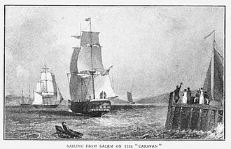 American Board of Commissioners for Foreign Missions - The Judsons, Newells, and Luther Rice set sail for India from Salem, Massachusetts on the Caravan on February 19, 1812.