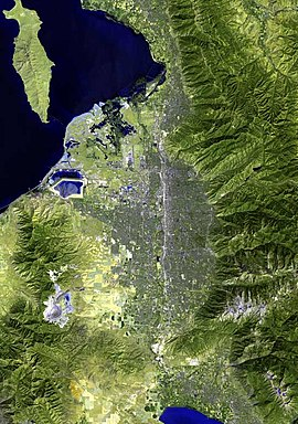 A satellite image of the Salt Lake City area showing the Transverse Mountains