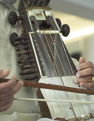 Sympathetic string - Detail of a sarangi, showing its sympathetic strings under three playing strings