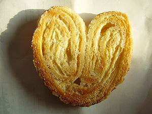 "Puff pastry - A palmier, or ""palm leaf"", design"