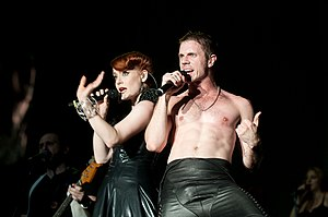 Scissor Sisters - Jake Shears and Ana Matronic performing in 2010 at the Fuji Rock Festival, Japan