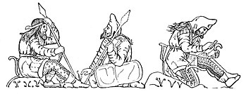 Scythian warriors, drawn after figures on an electrum cup from the Kul-Oba kurgan burial near Kerch. The warrior on the right strings his bow, bracing it behind his knee; note the typical pointed hood, long jacket with fur or fleece trimming at the edges, decorated trousers, and short boots tied at the ankle. Scythians apparently normally wore their hair long and loose, and all adult men apparently wore beards. The gorytos appears clearly on the left hip of the bare-headed spearman; his companion has an interesting shield, perhaps representing a plain leather covering over a wooden or wicker base. (Hermitage Museum, St Petersburg)