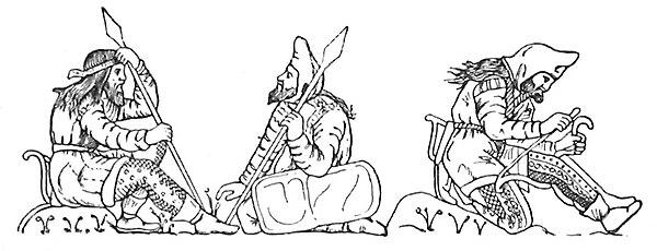 Przedstawienie wojowników scytyjskich na pucharze z Kul Oba